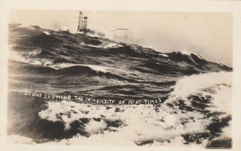 RPPC Immensity of Rough Seas at Times from Ship Military WWI