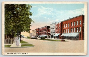 Clayton NY~Victorian Ladies on Water Street~Green Stripe Store Awnings~1915 PC