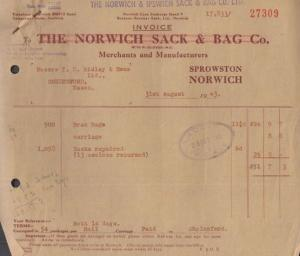 5x Norwich & Ipswich Factory Sprowston Suffolk Bags WW2 1943 Ephemera Receipt s