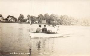 F35/ Holly Michigan RPPC Postcard c1910 On Simonson Lake Boat