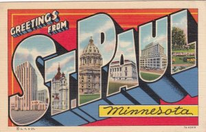 Minnesota Greetings From St Paul Large Letter Linen 1942 Curteich sk2324