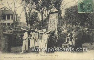 Procession Chinoise- Repos Vietnam, Viet Nam 1908 Stamp on front