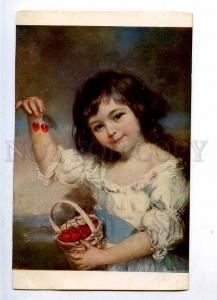 187192 Girl w/ Cherry by John RUSSEL Vintage LAPINA #5463 PC