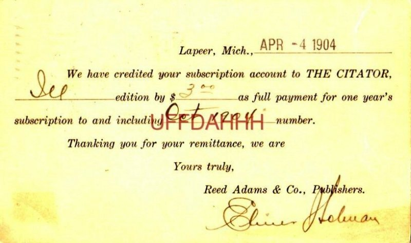 APR 1904 WE HAVE CREDITED YOUR SUBSCRIPTION ACCOUNT TO THE CITATOR, Reed Adams