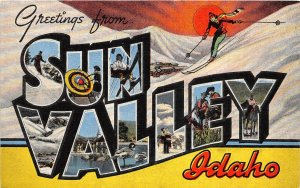 F72/ Sun Valley Idaho Postcard Large Letter Greetings Skiing Ski Slopes