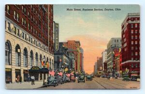 Postcard OH Dayton Main Street Business Section Vintage Linen I8