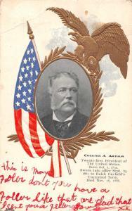 President Chester A Arthur Flag and Eagle Patriotic Antique Postcard J56668