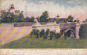 Wisconsin Milwaukee Light House And Lion Bridge Entrance To Lake Park 1907