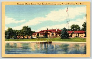 Thousand Islands New York~Country Club~Canada Steamship Lines Dock~1949 Linen