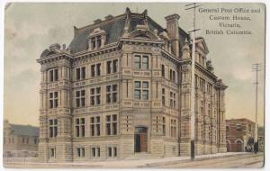 Canada, BC; General Post Office & Custom House, Victoria PPC, Beaumont 1908 PMK