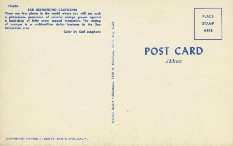 San Bernardino, California, CA. Greetings from, Postcard