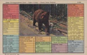 Dizzy Person's Correspondence Card With Bear Curteich