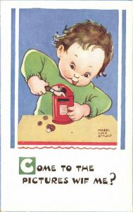 Artist Signed Mabel Lucie Attwell No. 5060, Girl opens Money-Box