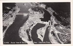 Oregon Aerial View Of Bonneville Dam Area Columbia River Highway Real Photo