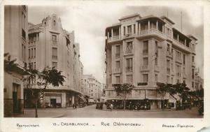 Morocco Casablanca Clemenceau Street stores cars 1930s Real Photo Postcard