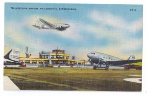 Philadelphia Airport Pennsylvania Vintage Linen Aviation Postcard Aircraft