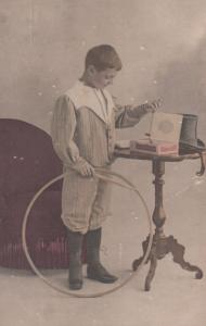 Circus Hoop Boy Daredevil Stunt Boy Fashion Costume Antique French Postcard