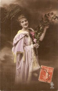 Pretty, elegant lady with flowers vouquet Nice vintage French postcard