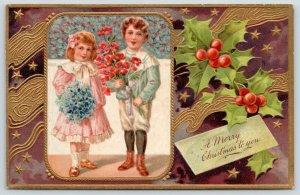 PFB Christmas~Victorian Boy Girl~Poppy Bouquet~Holly Berry~Purple Gold Emb~9103