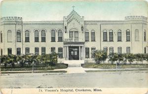 Crookston Minnesota~Castle-Edged St. Vincent's Hospital~1910 Decker Postcard
