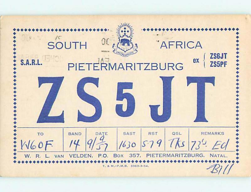 1957 vintage QSL HAM RADIO CARD Pietermaritzburg AFRICA - SOUTH AFRICA t1872