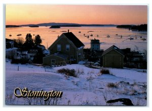 Postcard Stonington, Maine ME snow winter harbor fishing boats MS980