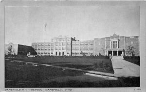 Mansfield Ohio~Mansfield High School Building~1940s Silver Border Postcard