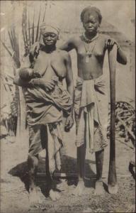 Ethnography Sengela Nude Woman & Baby c1900 Postcard