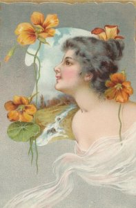 Art Nouveau Female & flowers ,  1901-07