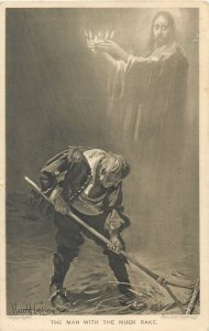 Postcard United kingdom British drawing the man with the muck rake