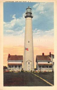 Cape May Point New Jersey Lighthouse Street View Antique Postcard K89910