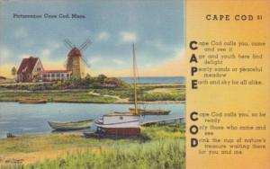 Massachusetts Cape Cod Picturesque Scene Showing Windmill