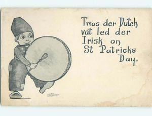 Stained Divided-Back st. patrick DUTCH BOY WITH DRUM LED THE IRISH o5021