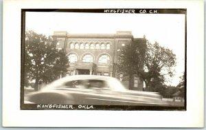 1940s KINGFISHER, Oklahoma RPPC Photo Postcard COUNTY COURT HOUSE Street View