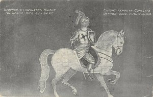 LP19  Illuminated Knight Templar  Denver Colorado Postcard 1913 Conclave