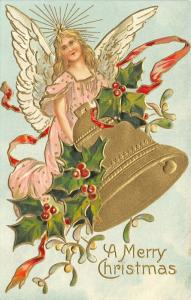 Christmas~Blonde Angel in Pink~Mistletoe Holly Bell~Clouds~Gold Leaf Emboss~1907