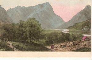 Mountain Landscape Old vintage antique French postcard