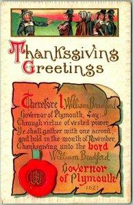 Vintage 1910s THANKSGIVING GREETINGS Embossed Postcard Pilgrims MEEKER Unused