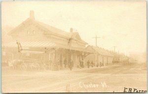 1907 CHESTER, Vermont RPPC Real Photo Postcard Railroad Depot Platform Scene