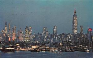 USA N.Y. New York, Midtown Manhattan Skyline at Night 1973