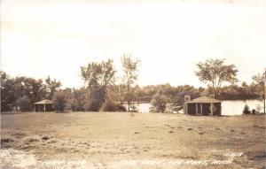 Fremont Michigan~Camp Echo View along Long Lake~2 Cottages~1940s RPPC