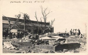 Boone Iowa~May 21 1918 Tornado~Family Gathered in Ruins~Brick Foundation~RPPC