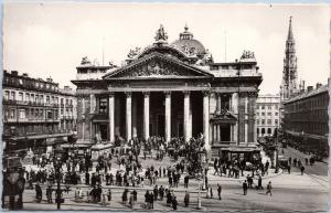 postcard Belgium La Bourse - Brussels Stock Exchange - real photo reprint