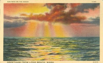 Greetings from Long Beach, Washington, unused linen Postcard
