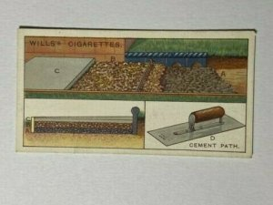 CIGARETTE CARD - WILLS HOUSEHOLD HINTS #31 CEMENT PATH    (UU42)