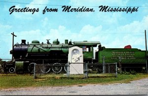 Mississippi Meridian Greetings Showing Old Locomotive