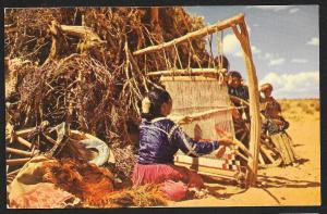 Navajo Woman Weaving Arizona Unused c1950s