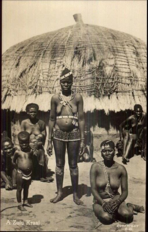 Africa Ethnography Native Nude Women A Zulu Kraal Real Photo Postard