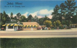 Oneida Tennessee~Jobe's Motel~Green/Yellow Awnings 1940s Roadside Linen