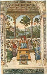 Siena, Liberia del Duomo, Enea Piccolomini Inviato presso